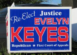 Justice Evelyn Keyes 2010 judicial re-election campaign sign